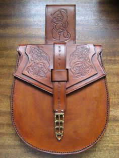 Sporran/Viking Birka Belt Bag Dragon Slayer by MoncrieffLeathers, $295.00