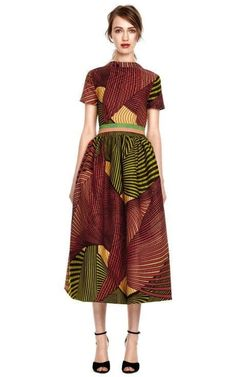 Peony Wax Cotton Full Skirt Party Dress by Stella Jean for Preorder on Moda Operandi African Inspired Fashion, African Print Fashion, Fashion Prints, African Prints, Ankara Fashion, African Fabric, Look Fashion, Fashion Models, Womens Fashion