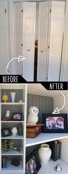 DIY Furniture Hacks | Bifold Bookshelf | Cool Ideas for Creative Do It Yourself Furniture | Cheap Home Decor Ideas for Bedroom, Bathroom, Living Room, Kitchen - http://diyjoy.com/diy-furniture-hacks