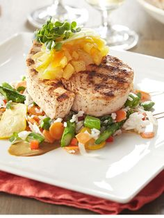 Grilled Pineapple-Citrus Swordfish with Summer Rice / PF Changs | grilled pineapple, yum! #pfcsummer