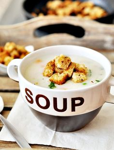 "SOUP bowl // ""Creamy"" Roast Chicken and Rice Soup"
