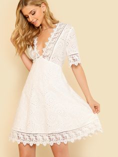 Lace Trim Eyelet Embroidered Dress Women White Deep V Neck Half Sleeve Cut Out Plain Dress 2018 Summer Sexy Cotton Dress Fit N Flare Dress, Fit And Flare, Vestidos Country, Shein Dress, Deep V Neck Dress, Boho Stil, Latest Dress, Mode Style, Look Fashion