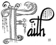 Keep the Faith lineweaving zentangle -