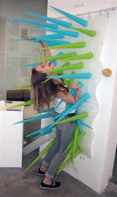 Elisabeth Buecher designed a series of water-saving shower curtains which inflate after four minutes spent under the water, taking over the space and discouraging long water-wasting showers.