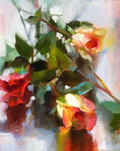 Oil Painting Flowers Art Flower Art Photography Watercolor Painting Flowers Roses Oil Paintings For Dining Room Walls Angel Oil Painting Rose Oil Painting, Watercolor Paintings, Painting Canvas, Oil Paintings, Art Aquarelle, Guache, Still Life Art, Rose Art, Arte Floral
