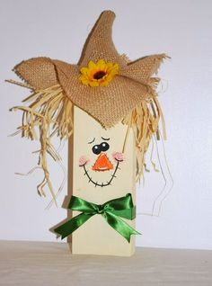 I made a few new 2x4 crafts for my Fall decor this year: How cute is he?! Linked to: lil-luna-link-party & whatever-goes-wednesda...