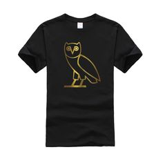 2016 NEW Mens Golden print T shirt hiphop drake OVO Owl luxury t-shirt 100% Cotton canada OVOXO gold print Brand clothing,ZA138