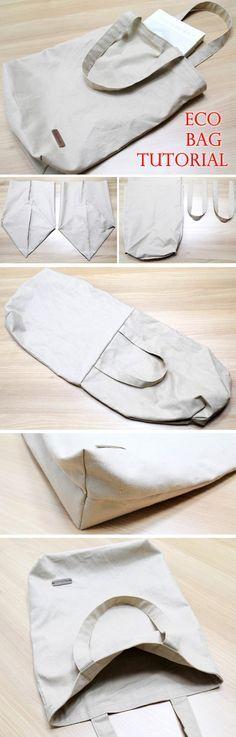 Canvas Tote Shopping Bag DIY Step by Step Photo Tutorial.  http://www.handmadiya.com/2016/05/canvas-eco-friendly-shopping-bag.html
