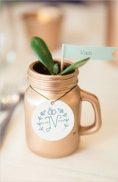 gold mason jar plant favor @weddingchicks