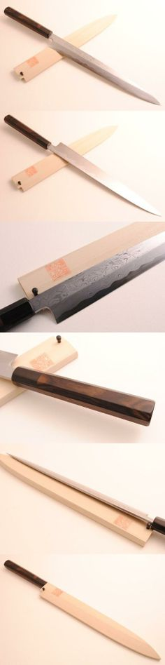 YOSHIHIRO- Ebony Damascus Yanagi Sashimi Chef Knife 11.7 300mm -MADE IN JAPAN, Our handmade Yoshihiro Blue Steel Suminagashi knives are crafted with extraordinary skill by our master artisans. Exemplifying the most intricate techniques of forging, layering, and hammering, Aoko..., #Kitchen, #Sashimi Knives
