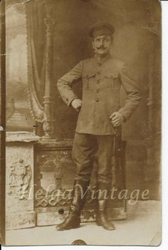 Vintage sepia atelier photo man in uniform cca. Antique Photos, Vintage Photographs, Old Photos, Vintage Photos, Rowing Crew, British Soldier, Men In Uniform, Antiques, Ebay
