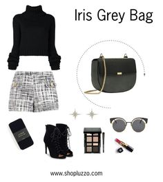 """""""Fall Outfit with Iris Grey Bag"""" by shopluzzo on Polyvore featuring Boutique Moschino, IO Ivana Omazić, JustFab, Chanel, J.Crew, Bobbi Brown Cosmetics, bag, purse, fallfashion and falloufit"""