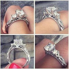 How Are Vintage Diamond Engagement Rings Not The Same As Modern Rings? If you're deciding from a vintage or modern diamond engagement ring, there's a great deal to consider. Verragio Rings, Verragio Engagement Rings, Princess Cut Engagement Rings, Beautiful Engagement Rings, Engagement Ring Cuts, Beautiful Rings, Three Stone Engagement Rings, Unique Rings, Tacori Wedding Rings