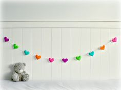 Felt heart garland - nursery decor - bright - neon by LullabyMobiles