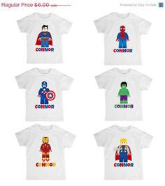 ON SALE DIY Iron On Transfer Design Lego Superheroes Birthday Legoland Personalized T-Shirt Printable on Avery 3271 Light Fabric Transfer on Etsy, $5.25 AUD