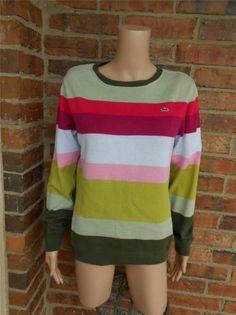 LACOSTE Women Devanlay Sweater Size 42  M Alligator Logo 100% Cotton Striped
