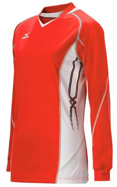 Mizuno Women's National IV Long Sleeve Volleyball Jersey, Red-White, Medium. 100% Mizuno DryLite Polyester. Mizuno DryLite technology for rapid evaporation and comfort. Stretch side panels for greater freedom of movement.