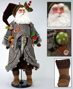 Katherine's Collection Christmas 2015 Finley Forester Santa doll will dress your home this season handmade and hand painted finest materials to detail mushroom attached to his pockets, Our displays will make a great theme this season Available pre order in advance World Gifts Store www.worldgiftsstore.com Christmas Fairy, Primitive Christmas, Father Christmas, Felt Christmas, Christmas 2015, Santa Baby, Dear Santa, Holly King, Santa Paintings