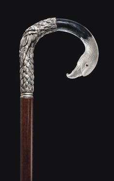 antique french walking stick | SILVER AND ROCK CRYSTAL ANIMAL CANE,