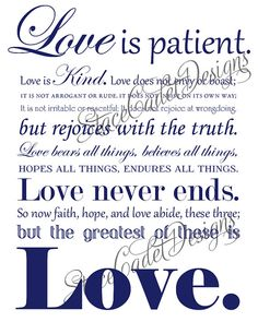 Love the wording of 1 Corinthians with all of the different texts!!