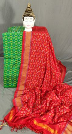 Sico dress materials Pochampally Sarees, Silk Material, Sari, Suits, Blouse, How To Wear, Traditional, Collection, Tops