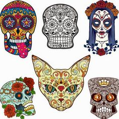 Mexican Skulls, Mexican Art, Skeleton Pics, Sugar Skull Art, Sugar Skulls, Day Of The Dead Art, Skull And Bones, Colorful Pictures, Cute Art
