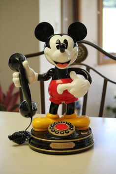 Vintage Real Mickey Mouse Telephone by celesteschall on Etsy, $110.00