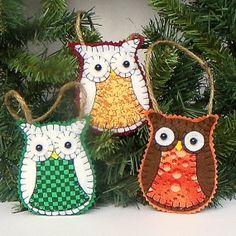 Brown or White Felt Owl Christmas Ornament by MerrilyMadeHartworks