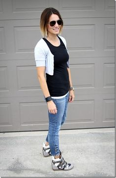 aviators and wedge sneakers paired with basics