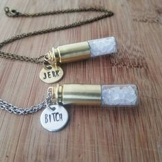 Supernatural necklaces  bitch jerk  by WanderlustHeartShop on Etsy