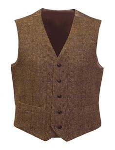 Harris Tweed Waistcoat - Mid Brown | The Edinburgh Woollen Mill