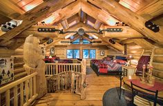 These Five Log and Timber Frame Bedrooms Will Guarantee a Restful Sleep Log Home Bedroom, Home Bedroom Design, Garage Bedroom, Cabin Homes, Log Homes, Log Cabin Kits, Log Cabins, Rustic Cabins, Blue Accent Walls