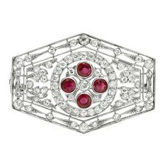 Dreicer Art Deco Ruby Diamond Pendant/Brooch. 1920's.