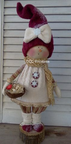 Primitive Christmas Snow Girl Sara Sue   Prim by CCCPrimitives