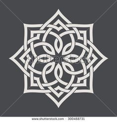 Circular pattern in arabesque style. Eight pointed star on dark background. Mandala. Lotus