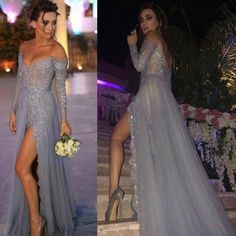 Buy Sexy Women's Prom Dress/Evening Dress - Gray Off-the-Shoulder Tulle with Apppliques Prom Dresses 2016 under $159.99 only in Dressywomen.