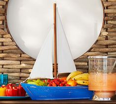 An adorable Sailboat Serve Bowl because who could possibly eat fruit out of a regular bowl, ever.  LOL  This couldn't be cuter!  Pottery Barn.