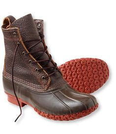 """<p>Our premium waterproof distressed bison leather is known for its tough-as-nails grain yet supple, pliable feel. The upper quickly molds to the shape of your foot and ankle for a lasting, custom fit. Feature a brick red sole, similar to some of the earliest boots in our archives. A supportive steel shank and our rubber chain-tread bottom give you unmatched comfort and performance. Comes with long-lasting taslan laces. 8"""" height. Handcrafted in Maine. </p>  <p><b>Fit</b>Best ..."""