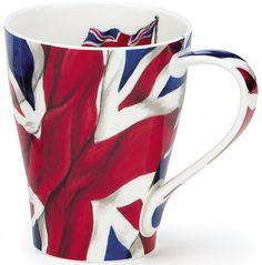 Dunoon - Fine Bone China Mugs - Solway Shape : Union Jack Flag China Mugs, Union Jack, Red Cross, Ceramic Cups, Mug Shots, China Porcelain, Mug Cup, Blue Backgrounds, Bone China
