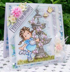 Magnolia Tilda OOAK Handmade Birthday Card - Tilda In Long Stockings