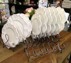 Beautiful Bordeaux plates and handy 4 and 6 plate stands.