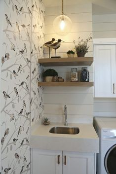Be Inspired with Basement Laundry and Utility Room Makeover Shiplap Bathroom Wall, Wainscoting Nursery, Shiplap Ceiling, Laundry In Bathroom, Small Bathroom, Basement Laundry, Laundry Rooms, Wainscoting Styles, Laundry Room Organization