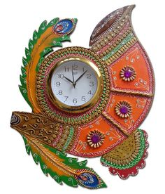 Hello India Wooden Hand Made Paper Mache Wall Clock