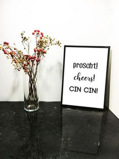 Proscht! Cheers! Cin Cin!  #print #poster #interiordesign #prints #blackandwhite #typoprint #typographyprint #cheers #proscht #cincin#zumwohl #salute #kitchendecor Typography Prints, Lettering, Cheers, Print Poster, Glass Vase, Interiordesign, Alcohol, Wine, Coffee