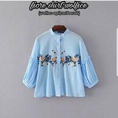 Baju Atasan Pakaian Wanita Hijabers Fiore Shirt Blue mempunyai keterangan Baju Hijabersbahan wolvis/wolpeach Baju Fashion beraplikasi bordir dan kancing