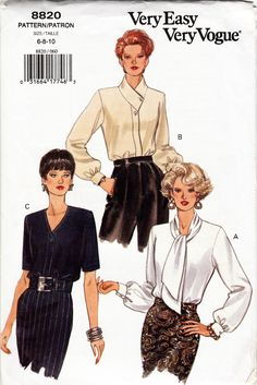 90s Very Easy Very Vogue Women Blouses Sewing Pattern Misses 6-8-10