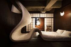 """10 Wacky Bedrooms -- This one is in Tokyo called """"Mattress Gone Mad.""""  Check out the others too...."""