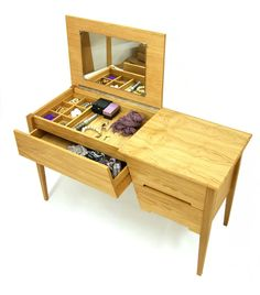 Solid Oak Wooden Dressing Table with Built in Storage