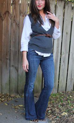 sweater vest + leopard heels