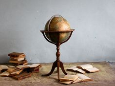 Vintage World Globe with Stand by jerseyicecreamco on Etsy, $175.00